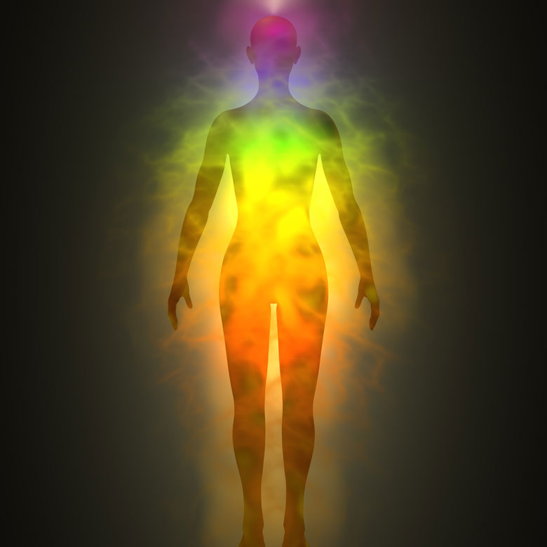 Access Resiliencey -An image of the human body glowing with many colors to represent vitality and human physical resiliency